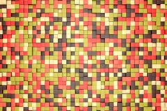 3d illustration: mosaic abstract background, colored blocks brown, red, pink, green, beige, yellow color. fall, autumn. Range of s. Hades. small squares, cell Royalty Free Illustration