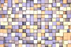 3d illustration: mosaic abstract background, colored blocks purple - violet - brown - beige color. Range of shades. Wall of cubes. stock illustration