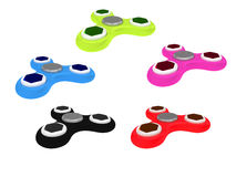 3D Illustration of multi colored fidget spinners isolated on whi Royalty Free Stock Photos