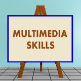 MULTIMEDIA SKILLS concept. 3D illustration of MULTIMEDIA SKILLS title on a tripod display board Stock Image