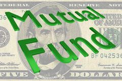 Mutual Fund concept. 3D illustration of Mutual Fund title on Five Dollars bill as a background Stock Images