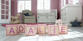 The name adalie written with wooden toy cubes in children`s room. 3D Illustration of the name adalie written with wooden toy cubes in children`s room Vector Illustration