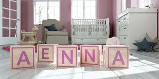 The name Aenna written with wooden toy cubes in children`s room. 3D Illustration of the name Aenna written with wooden toy cubes in children`s room Royalty Free Illustration