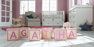 The name agatha written with wooden toy cubes in children`s room. 3D Illustration of the name agatha written with wooden toy cubes in children`s room Stock Illustration