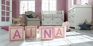The name aina written with wooden toy cubes in children`s room. 3D Illustration of the name aina written with wooden toy cubes in children`s room royalty free illustration