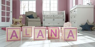 The name alana written with wooden toy cubes in children`s room. 3D Illustration of the name alana written with wooden toy cubes in children`s room stock illustration