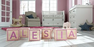 The name alesia written with wooden toy cubes in children`s room. 3D Illustration of the name alesia written with wooden toy cubes in children`s room stock illustration