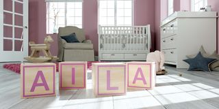The name alia written with wooden toy cubes in children`s room. 3D Illustration of the name alia written with wooden toy cubes in children`s room vector illustration