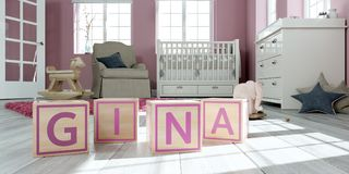 The name gina written with wooden toy cubes in children`s room. 3D Illustration of the name gina written with wooden toy cubes in children`s room Royalty Free Illustration