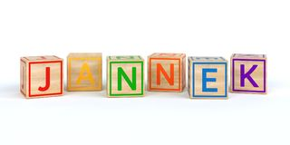 The name jannek written with Isolated wooden toy cubes. 3D Illustration of the name jannek written with Isolated wooden toy cubes vector illustration