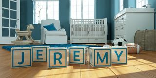 The name jeremy written with wooden toy cubes in children`s room. 3D Illustration of the name jeremy written with wooden toy cubes in children`s room stock illustration