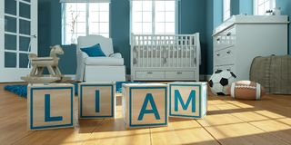 The name liam written with wooden toy cubes in children`s room. 3D Illustration of the name liam written with wooden toy cubes in children`s room vector illustration
