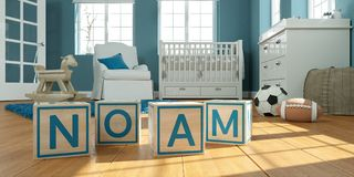 The name noam written with wooden toy cubes in children`s room. 3D Illustration of the name noam written with wooden toy cubes in children`s room Stock Photos