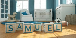 The name samuel written with wooden toy cubes in children`s room. 3D Illustration of the name samuel written with wooden toy cubes in children`s room royalty free illustration