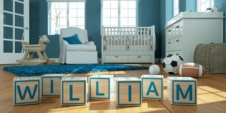 The name william written with wooden toy cubes in children`s room. 3D Illustration of the name william written with wooden toy cubes in children`s room royalty free illustration