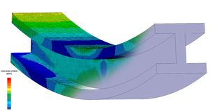 3D Illustration. Isometric view of a Von Mises stress plot & CAD model blend of an I Beam in bending with scale. 3D Illustration. Narrow isometric view of a Von vector illustration