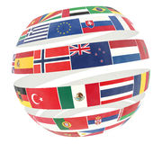 3D illustration of National flags twisted as spiral globe Stock Photo
