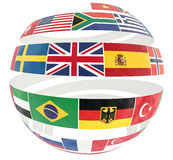3D illustration of National flags twisted as spiral globe Stock Photos