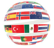 3D illustration of National flags twisted as spiral globe Royalty Free Stock Photo