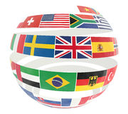 3D illustration of National flags twisted as spiral globe Stock Image