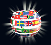 3D illustration of National flags twisted as spiral globe with rays. On dark Stock Photography