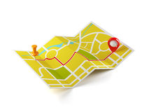 Navigation map with guide line. 3d illustration of navigation map with guide line. Isolated on white background Royalty Free Stock Photography