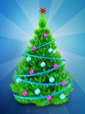 3d neon green Christmas tree over blue. 3d illustration of neon green Christmas tree with blue ribbons over blue background Royalty Free Stock Images