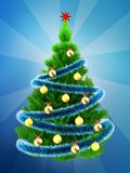 3d neon green Christmas tree over blue Stock Photos