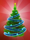 3d neon green Christmas tree over red. 3d illustration of neon green Christmas tree with blue tinsel over red background Royalty Free Stock Images