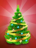 3d neon green Christmas tree over red. 3d illustration of neon green Christmas tree with golden ribbon over red background Royalty Free Stock Photos