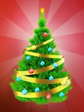 3d neon green Christmas tree over red. 3d illustration of neon green Christmas tree with golden ribbon over red background Stock Photo
