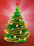 3d neon green Christmas tree over red. 3d illustration of neon green Christmas tree with golden tinsel over red background Royalty Free Stock Image