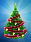 3d neon green Christmas tree over blue. 3d illustration of neon green Christmas tree with red tinsel over blue background Stock Photo