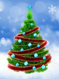 3d neon green Christmas tree over snow Royalty Free Stock Photography
