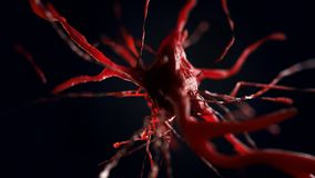 3d illustration of neural cell. Close up of neurone. Science concept Stock Photos