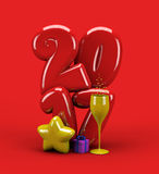 3d illustration new year 2017 balloon typography. 3d illustration for new  year with number 2017, stars, gift box and champagne glass on red background Royalty Free Stock Images