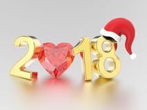 3D illustration new year 2018 gold numbers in the Christmas Sant. A Claus hat and a red diamond heart on a gray background Royalty Free Stock Image