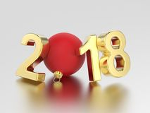3D illustration new year 2018 gold numbers and a red Christmas b. All on a gray background Stock Image
