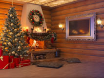 3D illustration New year interior with Christmas tree, presents. 3D rendering New year interior with Christmas tree, presents and fireplace in the house from a Stock Image