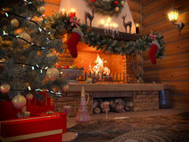 3D illustration New year interior with Christmas tree, presents