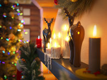 3D illustration New year interior with Christmas tree, presents. 3D rendering New year interior with Christmas tree, presents and fireplace in the house from a Stock Photography