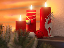 3D illustration New year interior with Christmas tree, presents. 3D rendering New year interior with Christmas tree, presents and fireplace in the house from a Royalty Free Stock Image