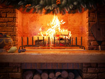 3D illustration New year interior with fireplace in the house fr Stock Image