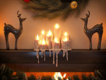 3D illustration New year interior with fireplace in the house Stock Photos