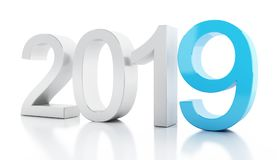 3d New Year 2019. 3d illustration. New Year 2019. Isolated white background Stock Images