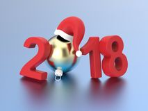 3D illustration new year 2018 red numbers and a gold Christmas b. All in the Santa Claus hat on a gray background Stock Images