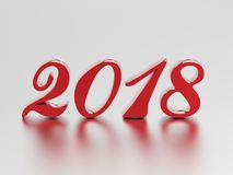 3D illustration new year 2018 red numbers. On a gray background Stock Photos