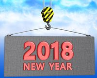 3d crane hook with new year 2018 sign Royalty Free Stock Images