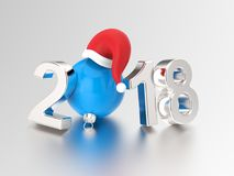 3D illustration new year 2018 silver numbers and a blue Christma. S ball in the Santa Claus hat on a gray background Royalty Free Stock Image