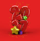 3d illustration new year 2017 typography. 3d illustration for new  year with number 2017, stars, gift box and confetti on red background Royalty Free Stock Images